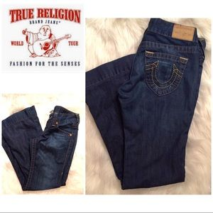 True Religion dark rinse wide leg jeans